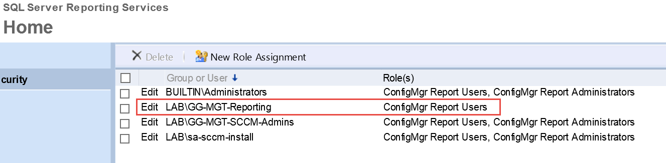 How to set permissions on custom SCCM reports